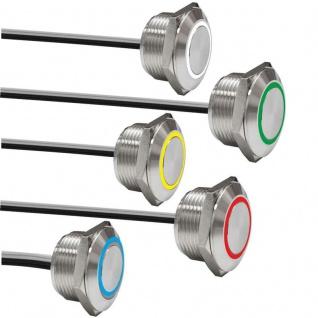 Klingeltaster Drucktaster 19mm Ringbeleuchtet Kabelanschluss Kurze Version