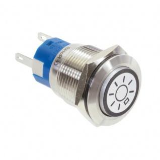 Klingeltaster Drucktaster mit LED Ring Licht Symbolbeleuchtung erhaben weiß 19mm Durchmesser 5 Pin Lötkontakte