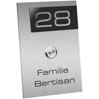 Edelstahl Türklingel 110x160mm mit schwarzer Acrylglas Hausnummer Resa
