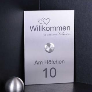Klingelschild Edelstahl 110x160mm Design Türklingel