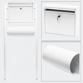 Standbriefkasten mit Zeitungsfach WEISS Briefkasten Postkasten Waldbröl
