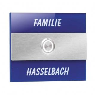 Türklingel Edelstahl 110x90mm blau Klingelplatte