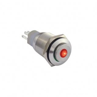 Edelstahl Klingeltaster Drucktaster 16mm mit Punktbeleuchtung rot