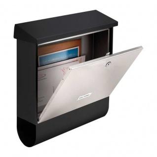 Edelstahl Briefkasten Wandbriefkasten mit Zeitungsfach Black & Steel