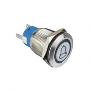 Klingeltaster Drucktaster mit LED Ring Glocken Symbolbeleuchtung weiß 19mm Durchmesser 5 Pin Lötkontakte