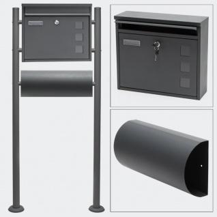 Standbriefkasten mit Zeitungsfach ANTHRAZIT Briefkasten Postkasten Minden