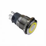 Druckschalter 19mm gelb Ringbeleuchtet 5 Pin Lötkontakte