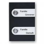 Türklingel Edelstahl 100x150mm schwarz/weiß pulverbeschichtet
