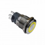 Klingeltaster Drucktaster 19mm gelb Ringbeleuchtet 5 Pin Lötkontakte