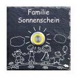 Schiefer Klingel 100x100 mm Happy Family