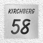 Edelstahl Hausnummer 250 x 250 mm mit schwarzer Folienbeschriftung