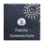 Klingelplatte Schiefer 100x100 mm Smile