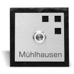 Türklingel Schiefer 100x100 mm mit 3 Quadraten
