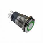 Druckschalter 19mm grün Ringbeleuchtet 5 Pin Lötkontakte
