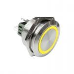 Klingeltaster Drucktaster 30mm Durchmesser gelb Ringbeleuchtet 6 Pin Steckkontakte