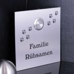 Türklingelschild 100x100 mm mit Hundepfoten