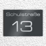 Edelstahl Hausnummer 250 x 170 mm pulverbeschichtet RAL 7016 anthrazit grau matt