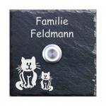 Türklingelschild Schiefer 100x100 mm Katze
