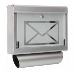 Briefkasten mit Zeitungsrolle aus Edelstahl und Glas Motiv Briefumschlag