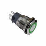 Klingeltaster Drucktaster 19mm grün Ringbeleuchtet 5 Pin Lötkontakte