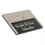 Design Türklingel 100x70mm aus Edelstahl mit Acrylglas in schwarz