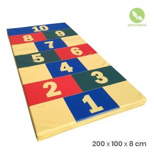 """NiroSport Turnmatte 200 x 100 x 8 cm """"Hopscotch"""" Gymnastikmatte Fitnessmatte Sportmatte Trainingsmatte Weichbodenmatte wasserdicht"""