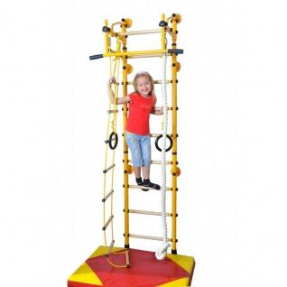 NiroSport FitTop M2 Indoor Klettergerüst für Kinder Sprossenwand für Kinderzimmer Turnwand Kletterwand, TÜV geprüft, kinderleichte Montage, max. Belastung bis ca. 130 kg, Made in Germany