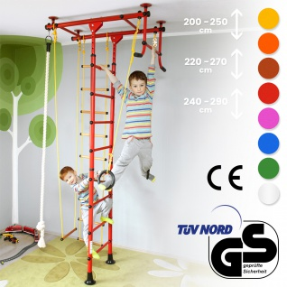 NiroSport FitTop M1 Indoor Klettergerüst für Kinder Sprossenwand für Kinderzimmer Turnwand Kletterwand, TÜV geprüft, kinderleichte Montage, max. Belastung bis ca. 130 kg, Made in Germany