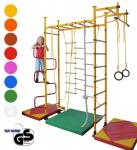 NiroSport FitTop M3 Indoor Klettergerüst für Kinder Sprossenwand für Kinderzimmer Turnwand Kletterwand, TÜV geprüft, kinderleichte Montage, max. Belastung bis ca. 130 kg, Made in Germany
