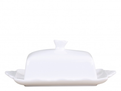 Chic Antique Butterdose PROVENCE Porzellan Geschirr Weiß Butterglocke 13x20 cm