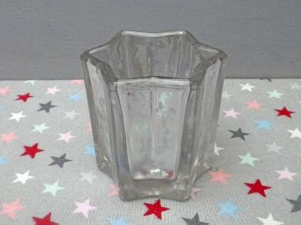 Windlicht STAR Weiß 8 cm STERN Form Teelicht Glas Weihnachtsdeko Kerzenhalter - Vorschau 2
