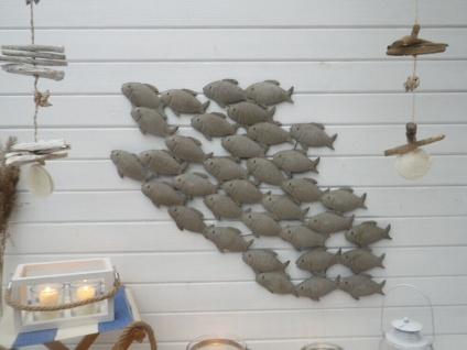 Wandobjekt FISCHSCHWARM Metall Wand Deko Objekt FISCHE 51x94 cm MARITIM Wandbild