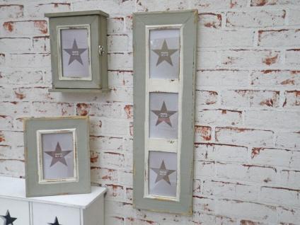 Bilderrahmen Newcastle für 3 Fotos. im Retro Style aus Holz in grau. 60 x 19.5cm
