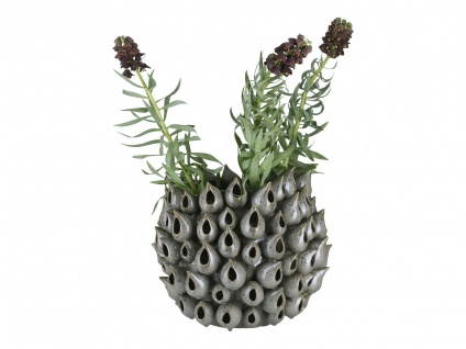 A Simple Mess Vase BARK Keramik Blumenvase Handarbeit UNIKAT 31x36 cm groß Grau