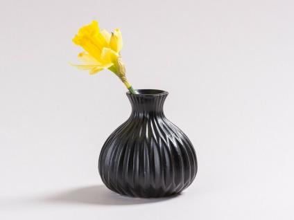 Vase LINA schwarz Keramik Blumenvase 12cm Deko Geschenk Tischdeko Design Klassik
