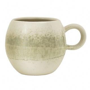 Bloomingville Tasse Paula grün creme Becher mit Henkel 300 ml Keramik