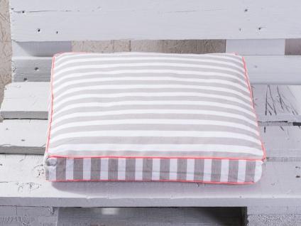Pad Sitzkissen CHETTO Streifen beige weiß gestreift taupe Kissenhülle Pad Concep - Vorschau 1
