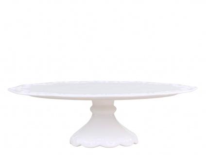 Chic Antique Tortenplatte PROVENCE Porzellan Geschirr Weiß Servierplatte auf Fuß