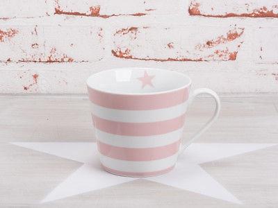 Krasilnikoff Tasse Happy Cup STREIFEN Rosa Pink weiß Porzellan Becher Stern