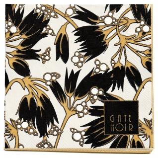 Gate Noir GreenGate Servietten FLORETTE Schwarz weiß Blumen 12.5x12.5 cm Papier