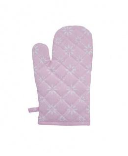 Krasilnikoff Ofenhandschuh BLUME DIAGONAL Rosa Blumen weiß Pink
