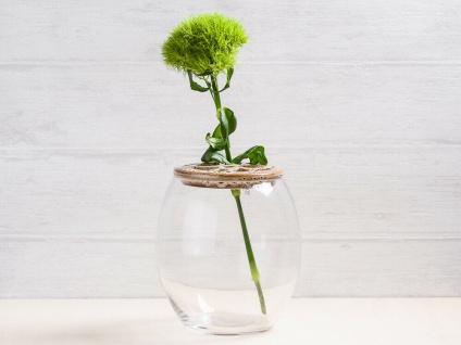 A Simple Mess Vase DRAM Glas Blumenvase rund mit Keramik Deckel 15 cm groß