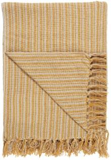 IB Laursen Plaid Gelb / Creme Streifen Muster 130x160 Wolldecke Fransen Decke