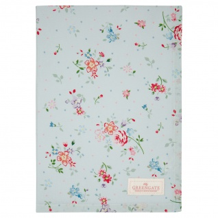 Greengate Geschirrtuch BELLE Pale Blue Blau Blumen Baumwolle 50x70 Küchentuch