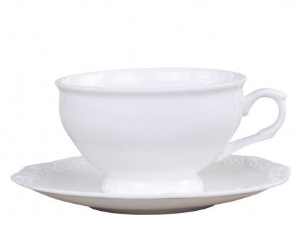 Chic Antique Teetasse PROVENCE mit Untertasse Porzellan Geschirr Weiß 350 ml