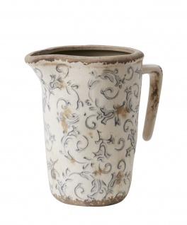Affari Kanne VICTORIA Grau weiß Keramik Steingut Krug 20 cm Karaffe Vase Vintage