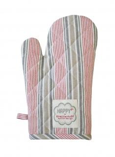 Krasilnikoff Ofenhandschuh Streifen grau rot weiß taupe Baumwolle gestreift Topf