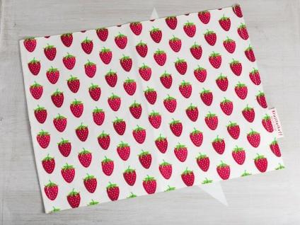 Krasilnikoff Tischset ERDBEEREN Weiß mit Erdbeer Motiv Rot Baumwolle Platzset
