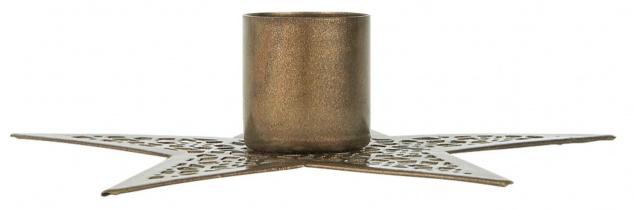 IB Laursen Kerzenhalter STERN Gold 11 cm Kerzenständer Metall für 1 Stabkerze