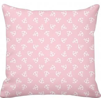 Krasilnikoff Kissen 50x50 ANKER Kissenhülle Rosa pink m Ankern Baumwolle Maritim